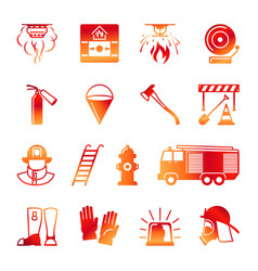 Firefighter colorful icons vector