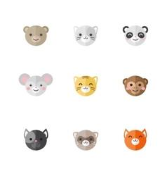 Flat set of funny cartoon animals vector