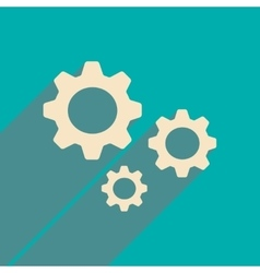 Flat with shadow icon and mobile applacation gears vector