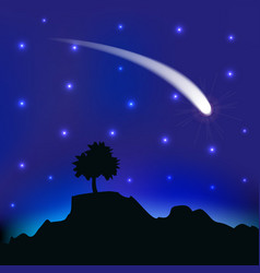 flying comet in night sky vector image
