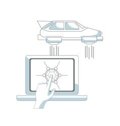 futuristic flying car vector image