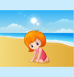 Girl playing a sand at the beach vector