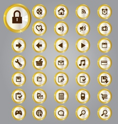 Gold and silver icons vector image
