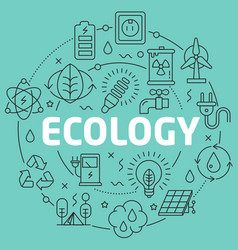Green line flat circle ecology vector