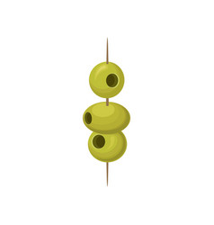 Green pickled olives on a wooden cocktail stick vector