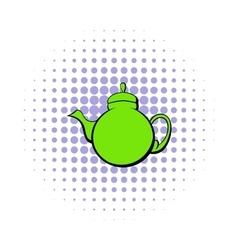 Green teapot icon comics style vector