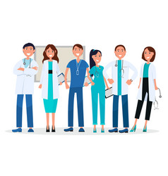 Group physicians in uniform standing and vector