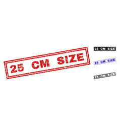 grunge 25 cm size scratched rectangle stamp seals vector image