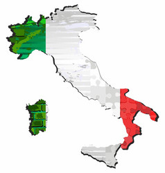 Grunge abstract map italy vector