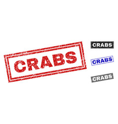 grunge crabs textured rectangle watermarks vector image