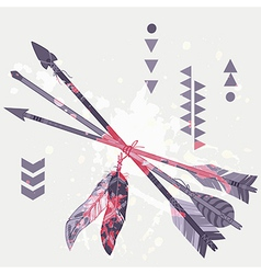 grunge different ethnic arrows with feath vector image