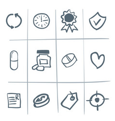 hand drawn medical icons vector image
