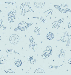 hand drawn seamless pattern with cosmonauts vector image