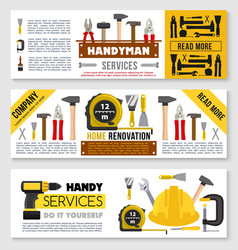 House repair banner set ot construction work tools vector