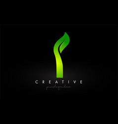 I leaf letter logo icon design in green colors vector