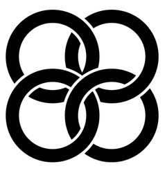 interlocking circles rings abstract icon vector image