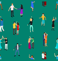 Isometric dancing people characters seamless vector