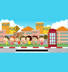 Many children on the sidewalk vector