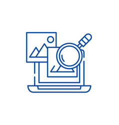 media analysis line icon concept media analysis vector image