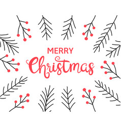 merry christmas calligraphic hand drawn lettering vector image