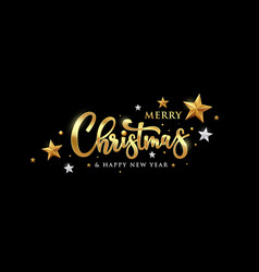 merry christmas message gold banner vector image