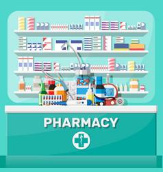 Modern interior pharmacy vector