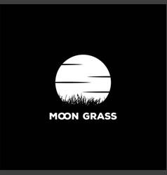 moon sunset sunrise grass silhouette logo design vector image