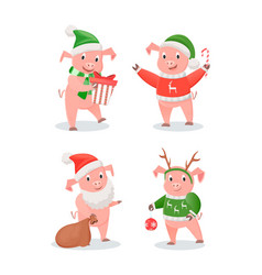 new year 2019 piglets in hats and sweaters set vector image