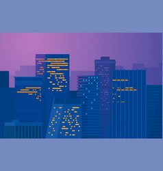night city downtown metropolis cityscape on a vector image