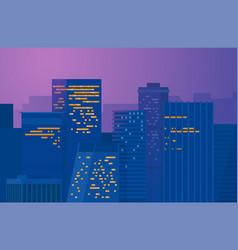 Night city downtown metropolis cityscape vector