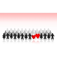 Paper crowd men and women with hearts vector image