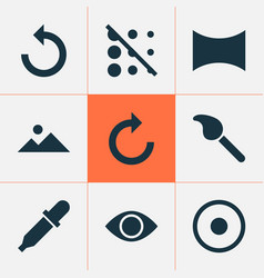 picture icons set with pipette dartboard reload vector image