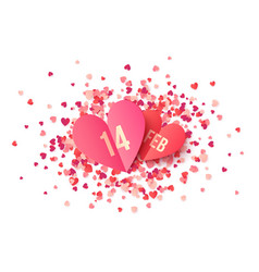 pink paper heart shape cards with date 14 february vector image