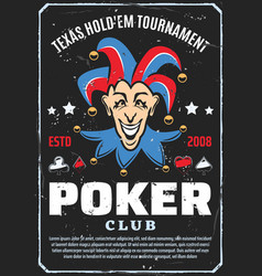 poker club tournament joker retro vector image