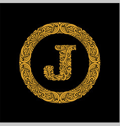 premium elegant capital letter j in a round frame vector image