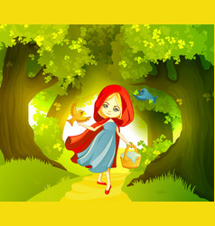 red riding hood on the forest path vector image