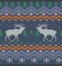 Reindeer winter knitted woolen seamless pattern vector
