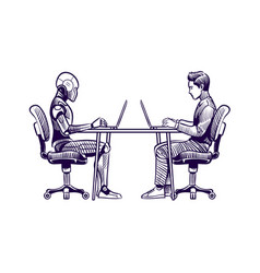 robot vs man human humanoid robot work with vector image