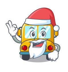 Santa school bus mascot cartoon vector