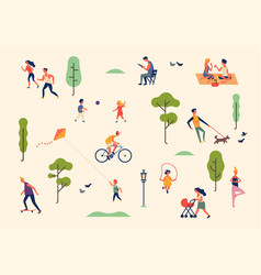 set characters in summer season outdoor vector image