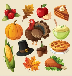 set colorful cartoon icons for thanksgiving day vector image