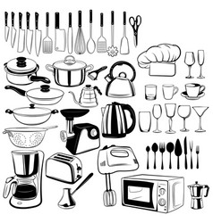 set cutlery and elements for kitchen vector image