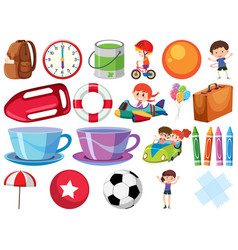 Set isolated objects with children and balls vector