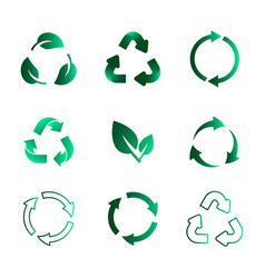 Set recycling icons biodegradable recyclable vector