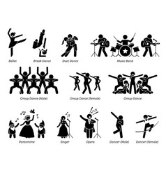 Stage performer artists for musical dance and vector