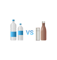 stainless vs plastic water bottles different drink vector image