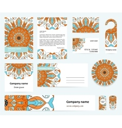 Stationery template design with mandalas vector