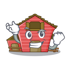 Successful a red barn house character cartoon vector