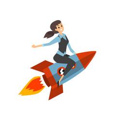 Successful businesswoman on a rocket start up vector