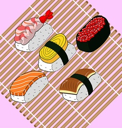 Sushi food japanese set vector